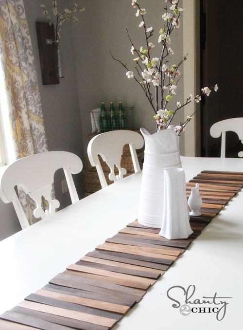 diy table runner though i think this would be great on the back wall of