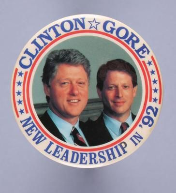 """<p>1992 U.S. presidential campaign button pin for Democratic candidates Bill Clinton and Al Gore. (Photo by Independent Picture Service/UIG via Getty Images)</p><p>Visit our full digital photo collection of <a href=""""http://www.pbslearningmedia.org/collection/historical-photographs-presidential-elections/"""">U.S. Presidential Elections: 1992-2012.</a></p>"""