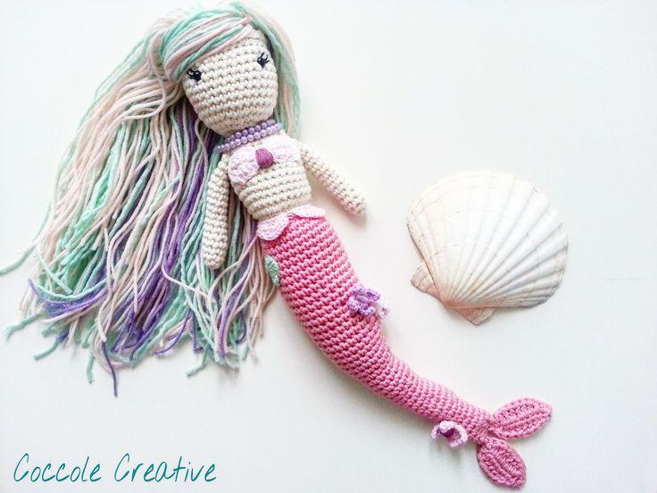 Nivea la Sirena. Una bambola realizzata interamente a mano da Coccole Creative in morbidissimo cotone!