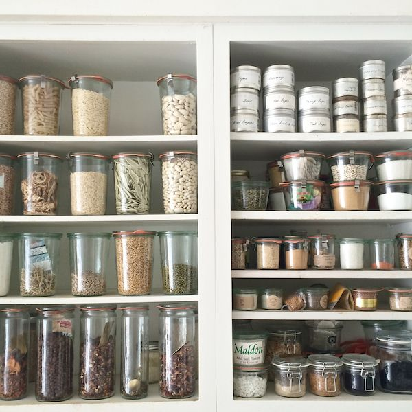 Fantasy neutral pantry. I would leave the doors wide open and watch visitors seethe with envy. I would totally freak out if someone bought red lentils by mistake.