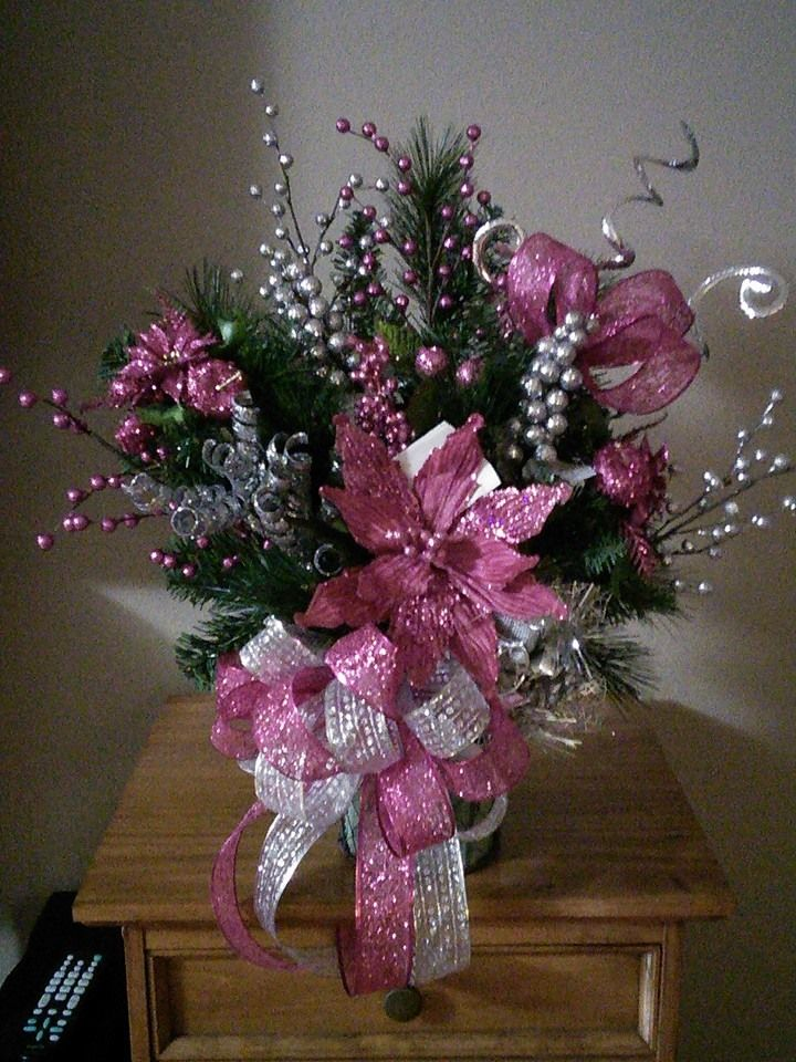 Pink & Silver all Saints Day Arrangement for Cemetary