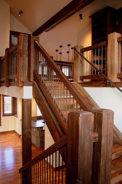 Rustic Mountian Stair Railings: Traditional Staircase By