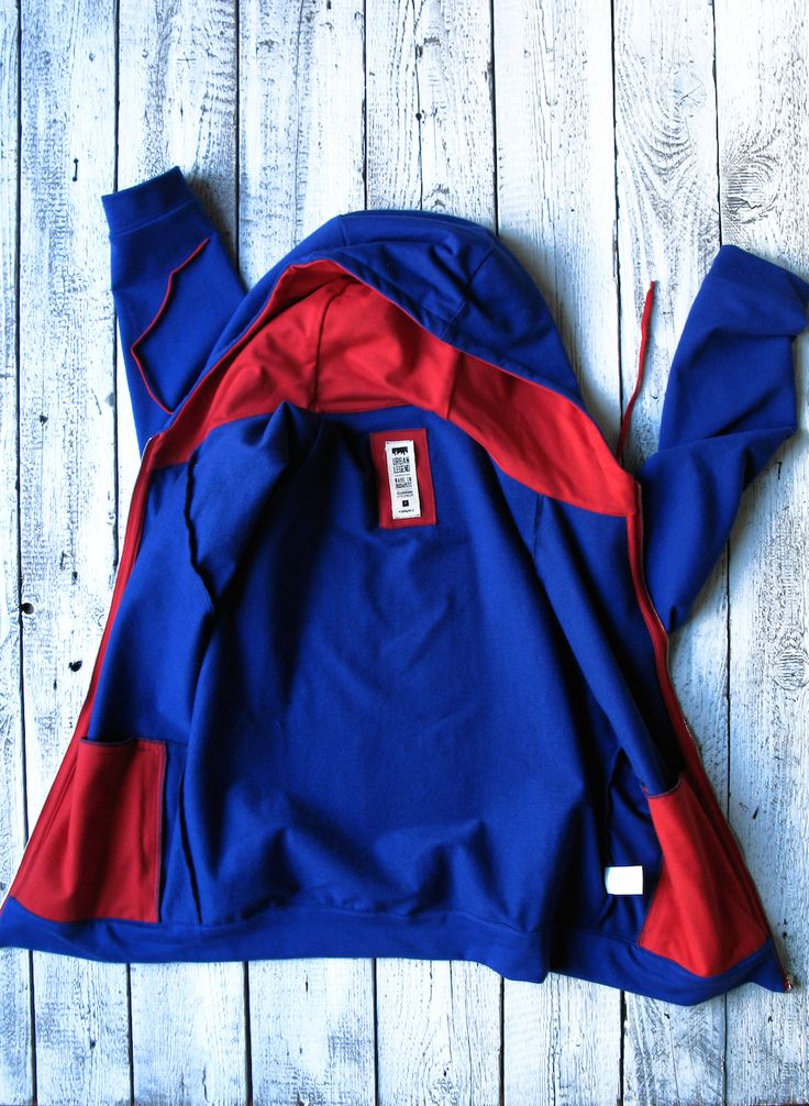 Cobalt blue Mississippi zippered cyclist hoodie for men, by Urban Legend on www.narvalmarket.com
