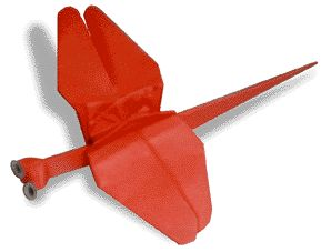 Origami Red Dragonfly