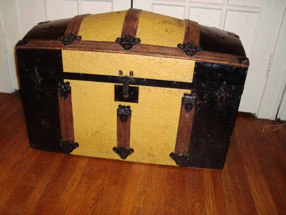 Victorian Humpback Steamer Trunk by TerraNouveauChic on Etsy,