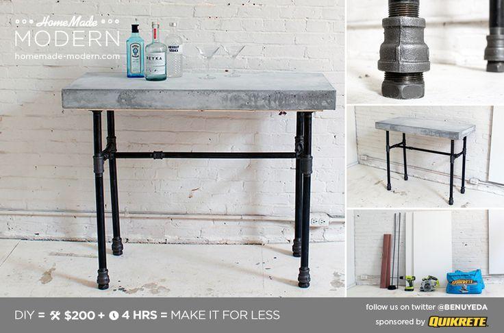 HomeMade Modern DIY EP40 Concrete + Iron Bar Table Postcard