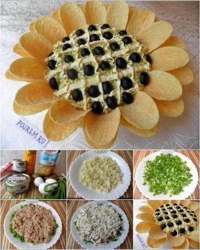 Μια ωραία ιδέα για μπούφε!   Θα χρειαστείτε: 250γρ. γαριδουλες κατεψυγμένες βρασμένες για 10΄σε αλατισμενο νερο 1 πακετάκι σουριμι η καβουροψιχα 3 φρέσκα κρεμμυδάκια 1 φλιτζάνι καλαμπόκι κονσέρβα 6-7 αγγουράκι τουρσί 2 πατάτες βραστές κομμένες σε κυβάκια 2-3 κλωνάρια μαϊντανό 2-3 κλωνάρια άνηθο 2 αυγά