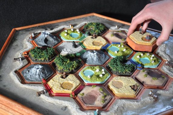 Solid wood Settlers of Catan custom game board.