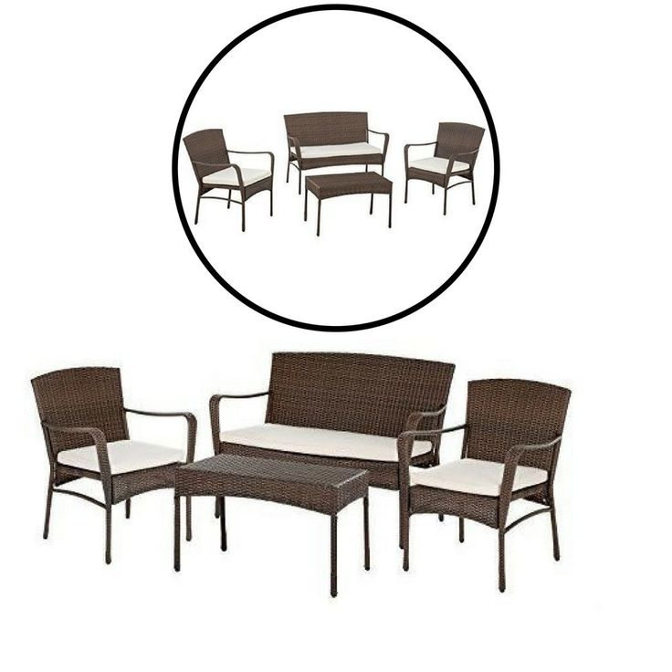 Outdoor Garden Patio Furniture Set 4 PC Table Chairs Loveseat Sofa Cushions #Unbranded