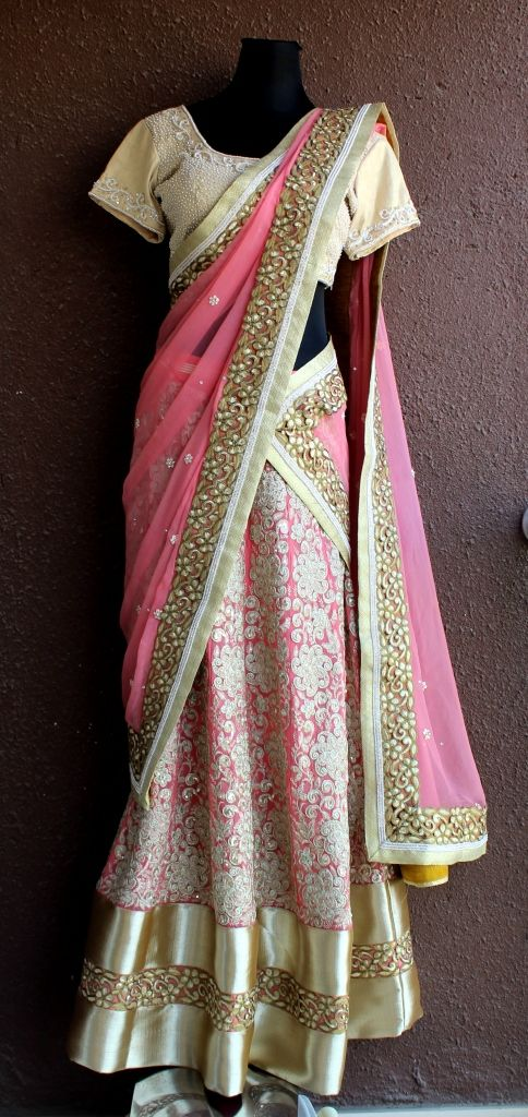 PSL55  Peach and champagne gold lehenga  To get more details about this lehenga please watsapp on +91-90 22 617481 or email us or preti.designs@gmail.com