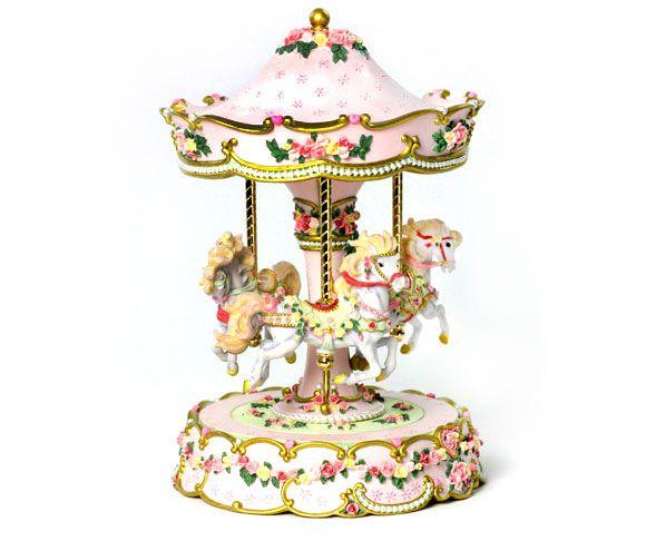 San Francisco Music Box - Hearts and Roses 3 Horse Carousel