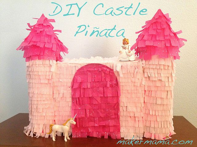 DIY Castle Pinata - use paper bag for middle rectangle center which will hold goodies and side towers can be empty and made from rolled cardboard