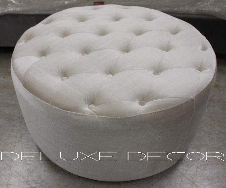 Harper Elegant Velvet Tufted Upholstered BEIGE Round Ottoman  http://deluxedecor.com.au/products-page/harper-collection/harper-elegant-velvet-tufted-upholstered-beige-round-ottoman-seat/