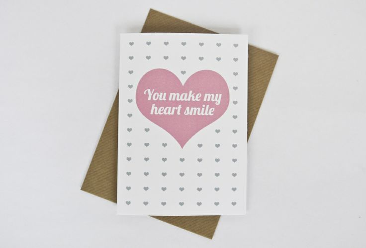 Image of 'You make my heart smile' Valentine's card in pink