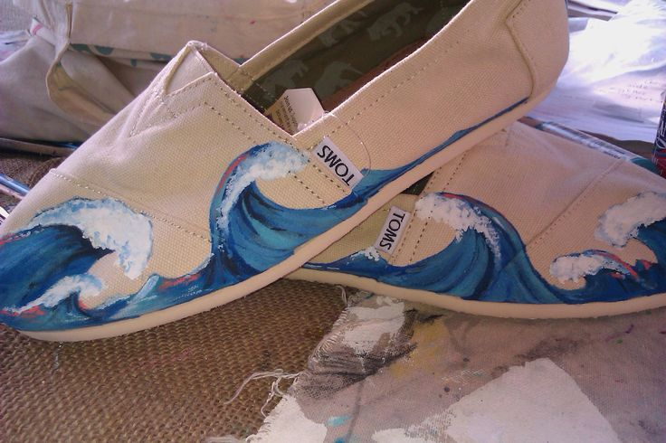 Wave Hello hand painted TOMS by PaintedLaceStudios on Etsy, $90.00