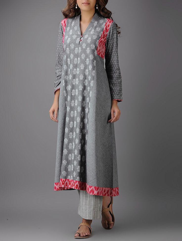 Buy Grey Red Ivory Ikat Cotton Kurta Women Kurtas Style Script Handwoven and khadi tops tunics overlays more Online at Jaypore.com