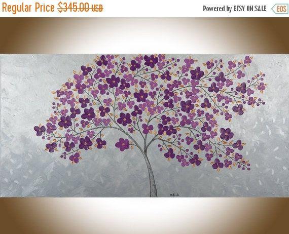 Purple flowers painting large canvas painting copper art large