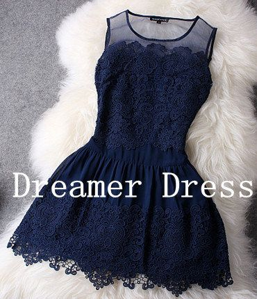 Navy Blue Cocktail Dress Short Prom Dress Short by DreamerDress, $90.00