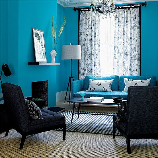 decorate your home in turquoise: Decor, Blue Rooms, Wall Colors, Ideas, Living Rooms, Blue Wall, Interiors Design, Colors Schemes, Black Furniture