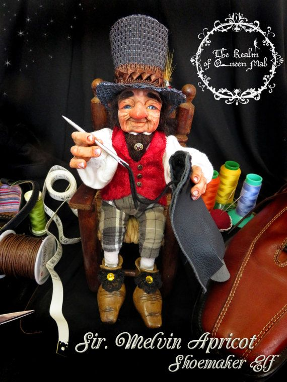 Classic Tales. Sir. Melvin Apricot, the shoemaker elf. Fantasy Art doll by Silver Berry.