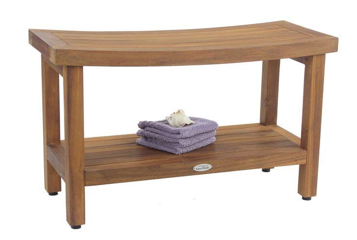 """Aqua Teak - The Original 36"""" Sumba Teak Shower Bench with Shelf, $229.95 (http://www.aquateak.com/shower-benches-stools-by-size/the-original-36-sumba-teak-shower-bench-with-shelf/)"""