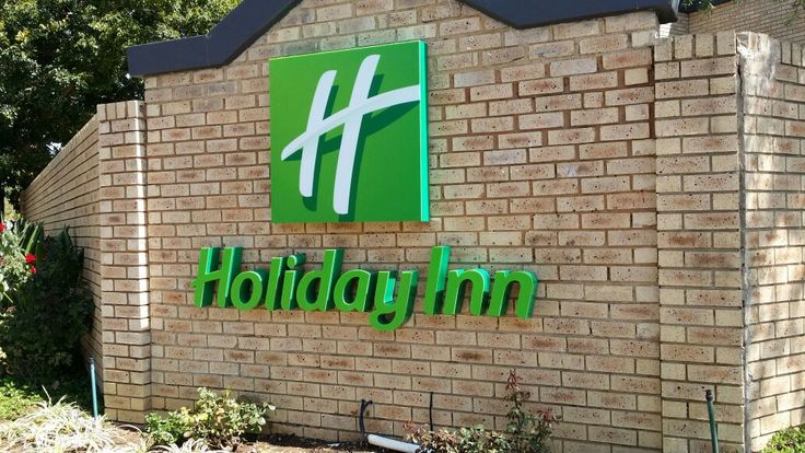 Holiday Inn Primary Signage #outdoor #fabricated #sign #illuminated #green #hotel #manufacture
