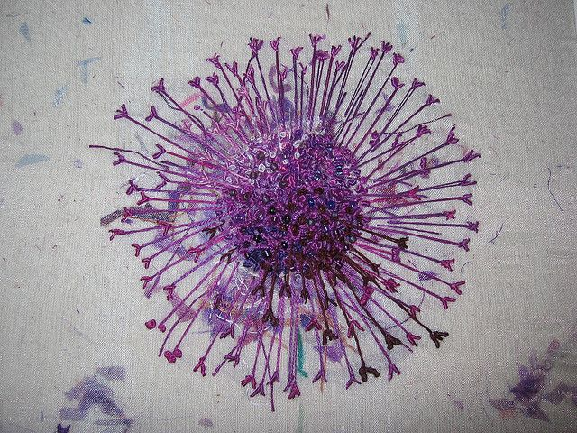 TAST french knots. This a section of a larger embroidery called 'Alliums', the centre is encrusted with french knots and beads. By Little Works of Art. #embroidery #frenchknots