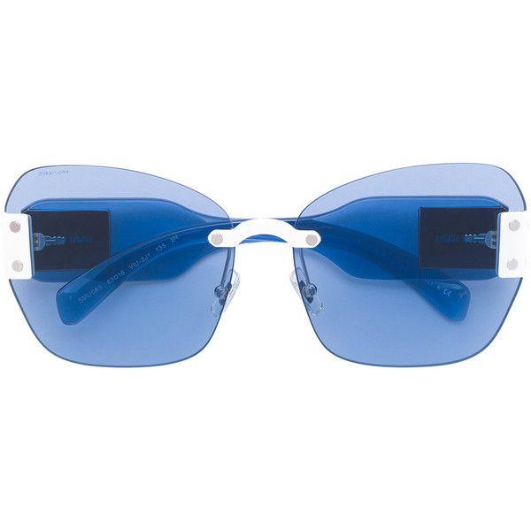 Miu Miu Eyewear classic square sunglasses ($505) ❤ liked on Polyvore featuring accessories, eyewear, sunglasses, blue, square sunglasses, blue sunglasses, miu miu eyewear, miu miu glasses and miu miu