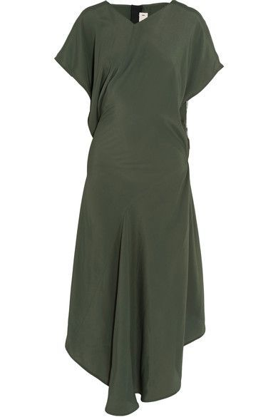 Army-green crepe de chine Slips on 69% acetate, 22% silk, 9% cotton Dry clean Designer color: Juniper Made in Italy