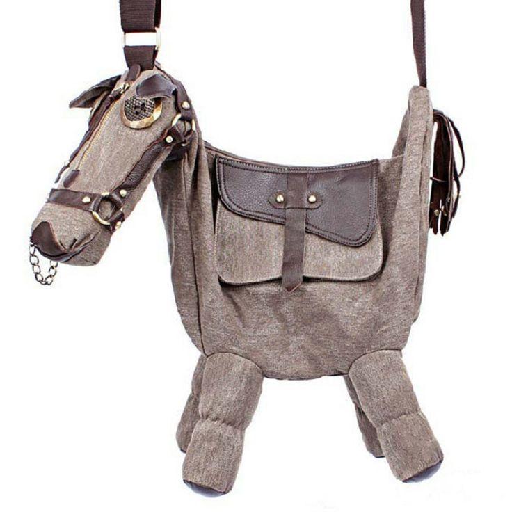 Hot Sale Animal Tide Creative Personality Pony Donkey Bags Shaped Female Diagonal Shoulder Horse Bag Pack