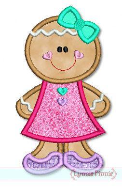 Applique GINGERBREAD GIRL 4x4 6 5 x 7 x 10 biscotto di vacanza macchina ricamo disegni Natale Download immediato