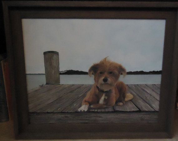 Reserved for Mike Custom Pet Portrait 16x20 framed