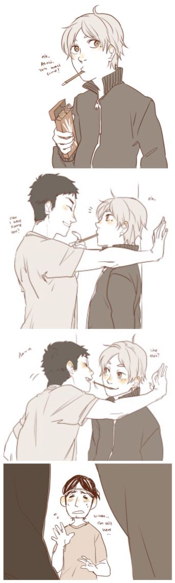 Lol asahi. You should man up and bite the pocky between them. Haha jk