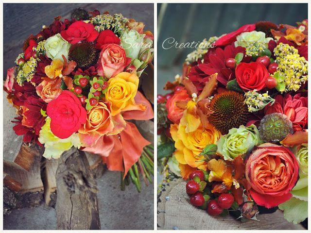 Flori de toamna: buchet mireasa si aranjamente prezidiu