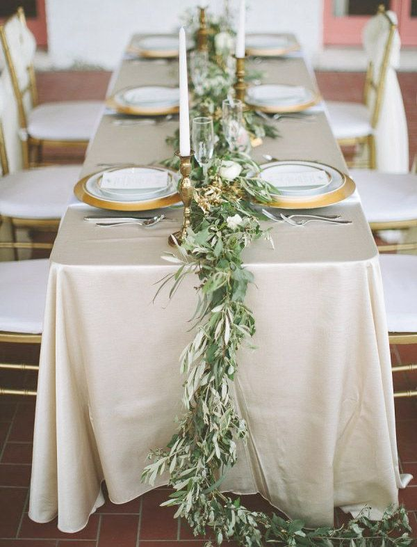 Grecian Inspired Wedding Table Setting With Olive Leaf