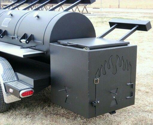 "Square Insulated Firebox mounted on a 30"" Triple Door Horizon Trailer Smoker! #HorizonTrailerSmokers"