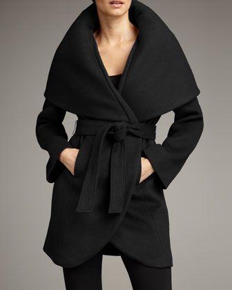 Marla Wrap Coat by Elie Tahari Exclusive for Neiman Marcus at Neiman Marcus. Black coat