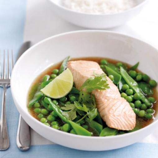 Poached salmon and snow peas in ginger broth