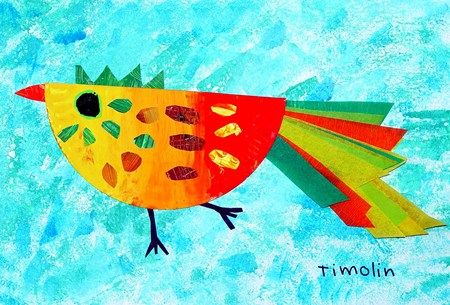 """Folded paper plate, paints, tissue and """"Bird is the Word""""!"""