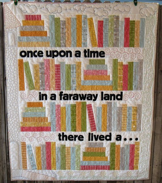 Moda Bake Shop: Read With Me Quilt - LOVE this quilt! Do you see how the quilting on the border is a castle and clouds? This color palette is great for a kids room, but what about doing the books in more grown-up colors (brown, navy, burgundy), adding gold embroidery to look like leather spines, and then have a quote about reading?