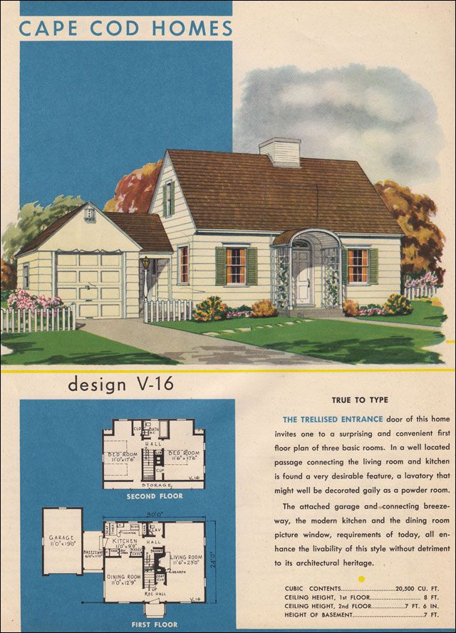 Vintage cape cod house plans house design plans for Single story cape cod house plans