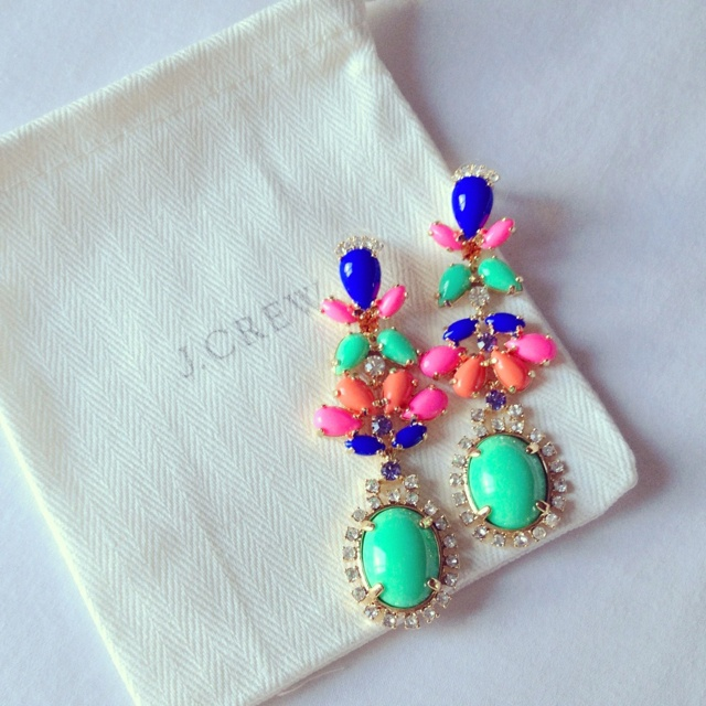 : Colors Combos, Drop Earrings, J Crew, Costumes Jewelry, Statement Earrings, Neon Colors, Jcrew, Bright Colors, Stones Earrings
