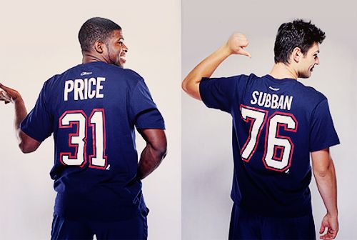 Teammates and best buds Montreal Canadiens PK Subban & Carey Price model each others t-shirts-AWWW❤️❤️