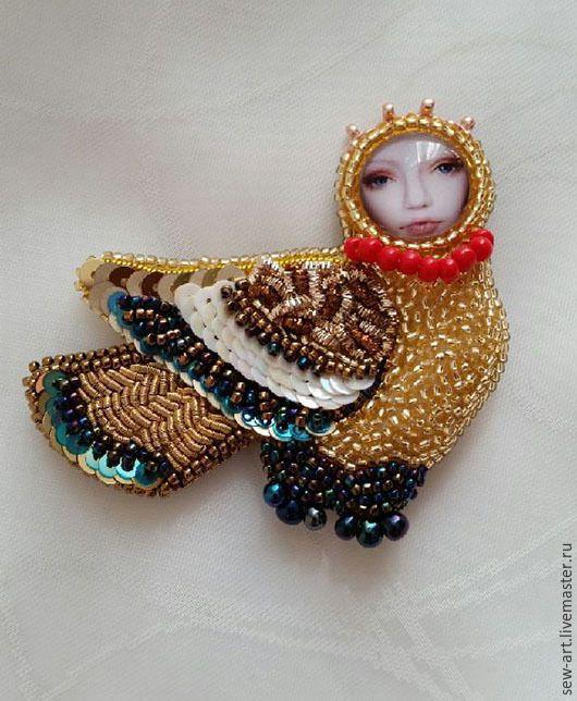 Купить Птица Сирин - брошь, птица, Сирин, вышивка, Вышивка бисером, вышитые украшения, brooch