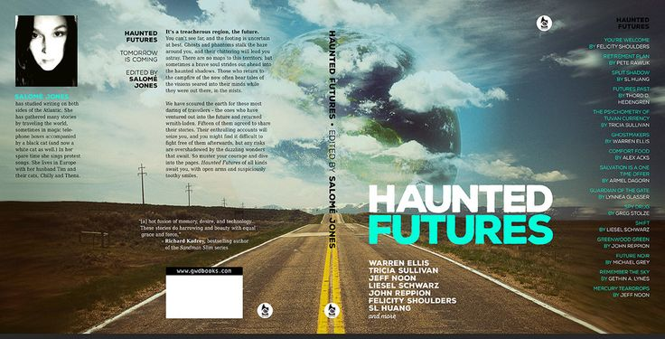 Hardcover book cover design for Haunted Futures by gaborcsigas.deviantart.com on @DeviantArt