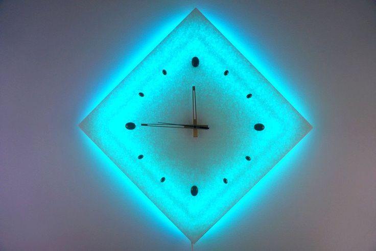 ZEGAR KINKIET MARMUR Obraz świecący LED rgb PILOT - ARTSUN - Zegary