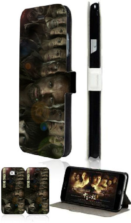 retail The walking dead 5design hybrid luxury wallet PU Leather Cell Phone cover Case for Sumsung Galaxy S6 Edge G9250 free ship