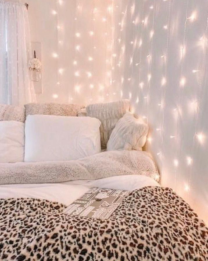 Curtain Led Lights In 2020 Cozy Room Girl Bedroom Decor Dorm Room Inspiration