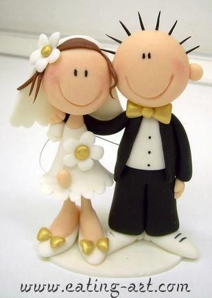 Clay made cake topper - Bride & Groom