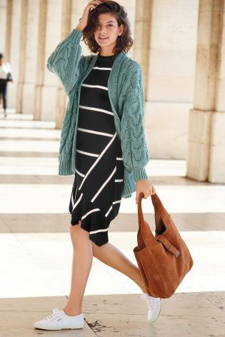 Green Chunky Cable Cardigan